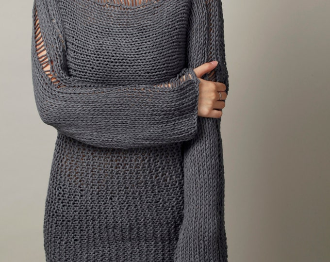 Hand Knit Woman Sweater - Eco Cotton Oversized sweater in Charcoal Grey- ready ship