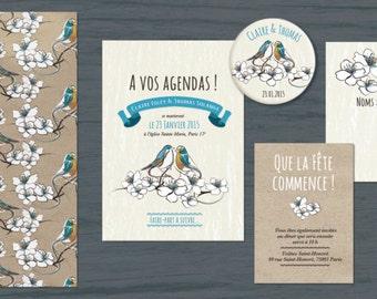Lovely Birdies Wedding Invitation to be personnalized. Romantic blue birds.