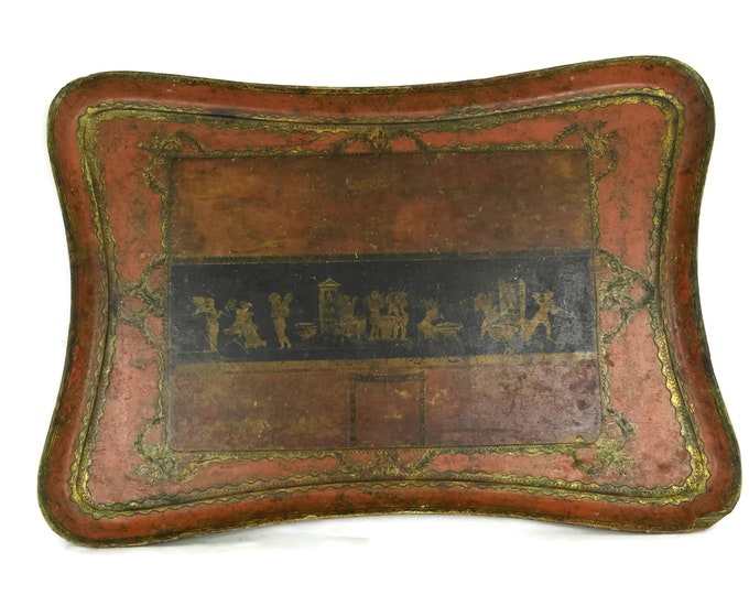 Pompeii Souvenir Vintage Florentine Tray. Large Drinks Tray with Illustrations. Retro Italian Serving Tray and Bar Decor.