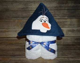 Custom Embroidered Hooded Towel- Frozen Inspired: Elsa, Anna & Olaf