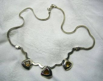 Vintage 60s Topaz Necklace in a Sterling 925 Setting