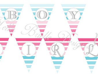 "Ombre Gender Reveal Party Printable Large Banner ""Boy or Girl?"" - Instant Digital Download"