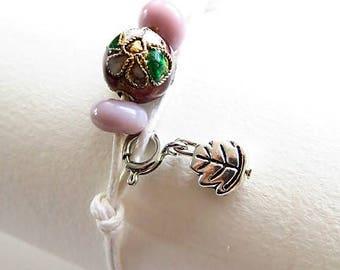 Waxed cotton bracelet 16256