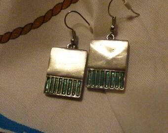 Vintage Silver Tone Earrings - Rectangle Earrings - Dangle Earrings - Jewelry