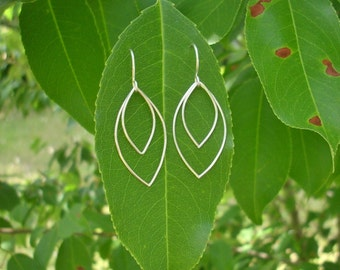 Silver Leaf Earrings. Leaf Earrings. Leaf Jewelry. Marquise Earrings. Marquise Jewelry.