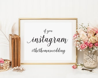 If you Instagram sign, Wedding Instagram Hashtag Sign, Wedding Hashtag sign, Wedding Instagram Sign,  Social Media Wedding Sign, WIS04