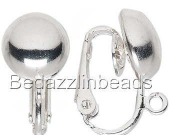 10 Silver Clip On Earring Findings With 10mm Half Ball & Open Loop Plated Brass Metal