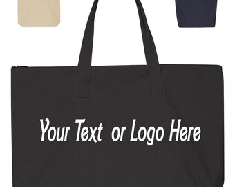 Custom Made Liberty Bags - 10 Ounce Canvas Tote with Zipper Top Closure - 8863 Rhinestone Glitter or Vinyl Print Customized