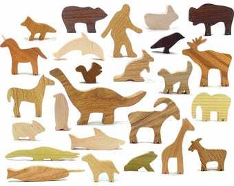 Classic Wooden Animal Toys, Natural Wood Toys, Bear, Giraffe, Narwhal, Horse, Frog, Dinosaur, Unicorn, Shark