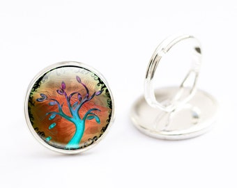 Tree Ring - Tree Jewellery,  Tree Picture Ring -  Tree Art Ring - Tree Jewelry (TR4)