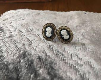 Cameo stud earrings