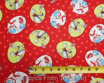 The Cat in the Hat Christmas Dr Suess on Red BY YARDS Robert Kaufman Cotton Fabric