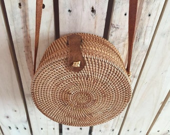 Bali Harvest Round Woven Ata Rattan Bag with Bow Clasp Straw circle rattan bag