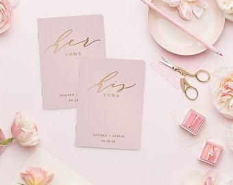 Wedding Vow Books, Rose Gold Foil Press on Blush Vow Book, Personalized Wedding Vow Books, Calligraphy Vow Books, Vow Book Personalized