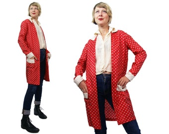 1920s Silk Red and Bone Colored Polka Dot Duster Jacket