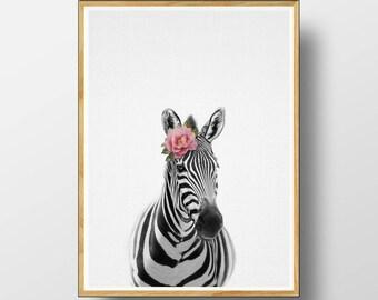 Zebra Print, Nursery Animal Print, Nursery Animals, Nursery Art Print, Zebra, Nursery Animal Art, Nursery Animal Decor, Watercolour Flower