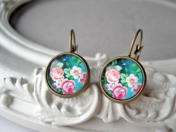 Pretty pink flower rose earrings sweet lolita feminine leverback