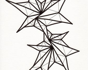 """Original freehand line drawing - 8 x 10 unframed art - black and white minimalist modern home decor - contemporary design """"On the Contrary"""""""