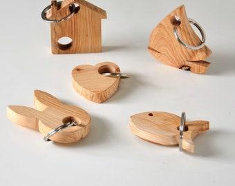 Wooden keychain, handmade keychain, boat key ring, fish keychain, home keyring, heart key chain, Bunny key ring