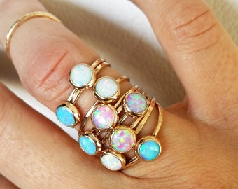 Opal gold ring/ Thin stacking ring/ October birthstone/ Dainty trendy elegant jewelry/ Rock Elegance/ RockElegance