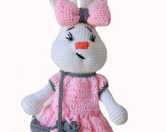 Crochet bunny girl, white bunny, bunny Nursery decor, Baby gift, Soft Baby toy, bunny stuffed animal, bunny amigurumi, white crochet rabbit