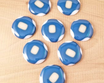 Fused Glass  Multi Color Blue White and Ivory Drawer Pull