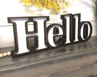 Marquee Hello Wooden Cutout, Laser Cut Wood Hello Sign, Entry Wall Decor, Marquee Style Wood Word