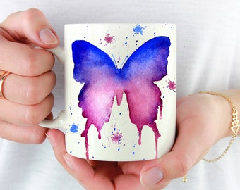 Purple Butterfly Mug - Butterfly Lover Gift - Butterfly Coffee Mug - Unique Butterfly Gifts