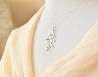 Silver Branch Necklace - Silver Necklace, Leaf Necklace, Nature Inspired Jewelry, Dainty Necklace, Tree Necklace, Twig Pendant Necklace