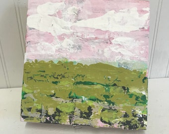 6.75x7 Abstract Landscape Painting on Wood Block