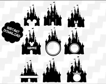 Disney Castle Svg, Disney Castle Clipart, Disney Castle Vector, Disney Castle silhouette, disney castle monogram svg, Monogram castle svg,