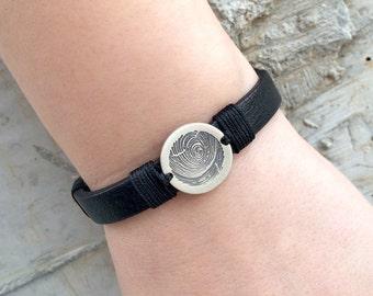 Leather bracelet, actual fingerprint bracelet, custom men bracelet, leather fingerprint bracelet, custom leather cuff, leather men cuff