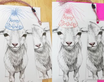 BIRTHDAY Lamb CARD and BOOKMARK Set Katahdin Happy Birthday to Ewe Sheep Greeting 1 Set Farm Birthday Pets 5x8 Free Shipping in the U.S.A.