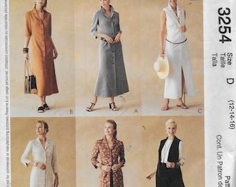 UNCUT Pattern Misses' Shirt Dress/Sleeve Variations  McCalls 3254 - Dated 2001 size D 12 14 16