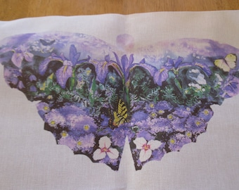 Vintage painted needlepoint. Butterfly and flowers