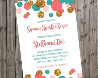 Sip and shop invite etsy jewelry party invitation sip and sparkle soiree pink teal gold glitter dots invite home shopping boutique stopboris Images
