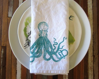 Cloth Napkins - Screen Printed Cotton Cloth Napkins - Eco Friendly Dinner Napkins - Reusable Napkins - Octopus - Nautical - Table Setting