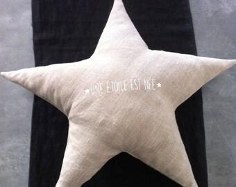 Star cushion in natural linen