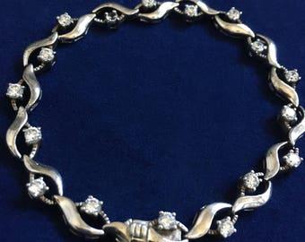 Vintage Sterling Silver And Diamante Bracelet