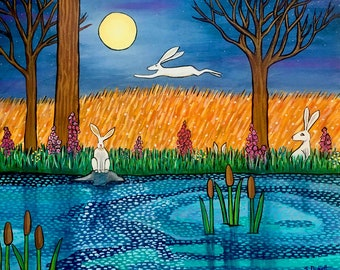 White rabbit, hare,bunny, Shelagh Duffett print
