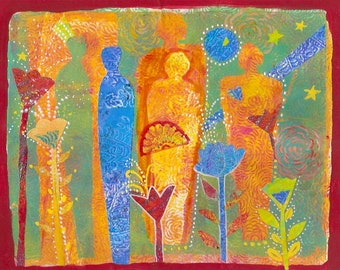 The Ancestors Come Visiting In The Garden. Figures share passion, healing and blessing.