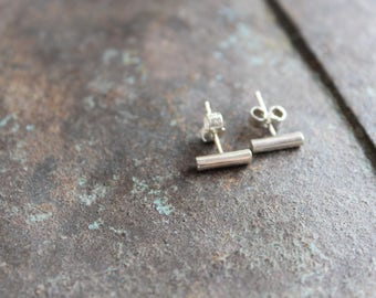 Earrings sterling silver thin and minimalist bar