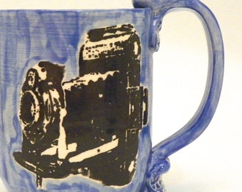 Ceramic Mug Smile for the Camera Black on Blue Made to Order MG0033