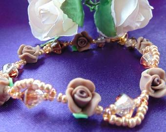 Crystal and Roses Bracelet