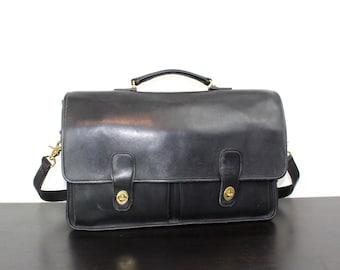 Vintage Coach Prescott Messenger Briefcase Bag, Black Leather Laptop Tote, Shoulder Bag, Double Turn Lock 1990s United States 040613