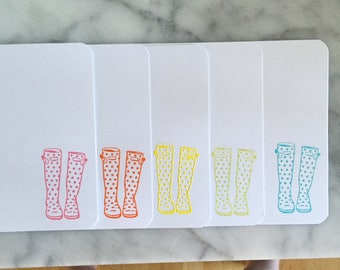 10 Rainbow Rain Boot Flat Notecards