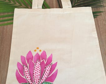 Pink Lotus flower Canvas Tote Bag -Library, Beach Bag Groceries