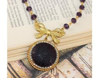 Vintage Amethyst Glass Necklace, Amethyst Necklace, Victorian Necklace