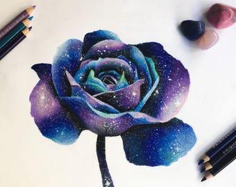 Galaxy Flower Drawing Print - Wall Art - Colorful - Sky