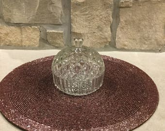 Vintage glass dish with lid